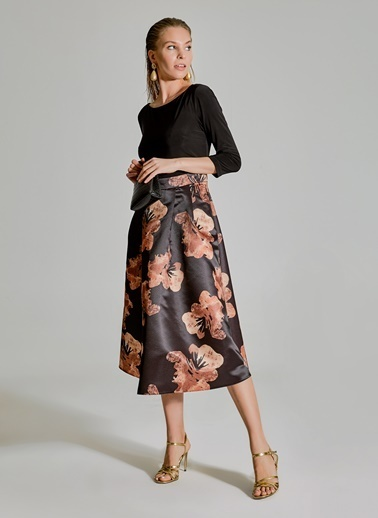 People By Fabrika Desenli Saten Elbise Siyah